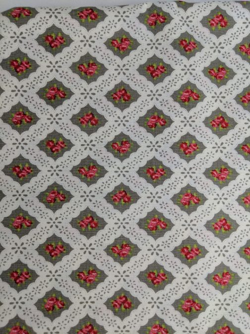 Ambleside by Brenda Riddle for Moda # 18602 Grey Pink White Out of Print Fabric by the 1/2 Yard 2