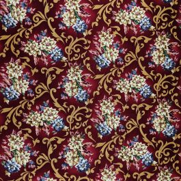 Traditional Christmas Poinsettia Fabric in Wine by Beth Ann Bruske for David Textiles Out of Print Fabric Sold by the 1/2 Yard
