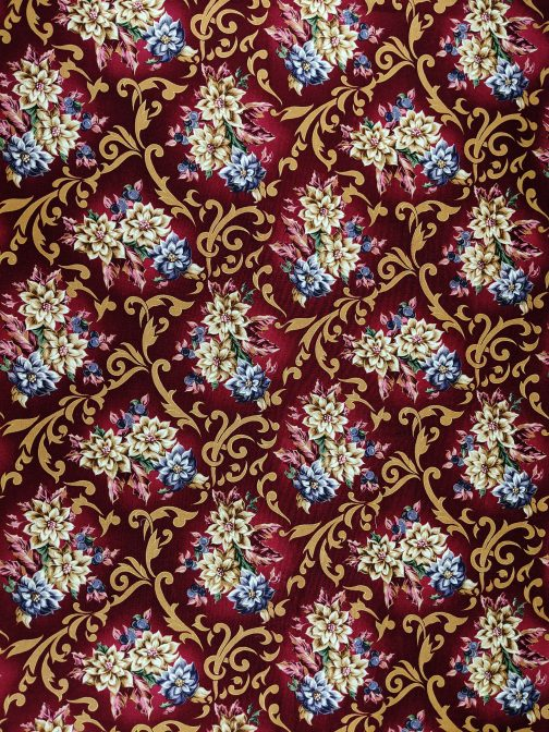 Traditional Christmas Poinsettia Fabric in Wine by Beth Ann Bruske for David Textiles Out of Print Fabric Sold by the 1/2 Yard 2