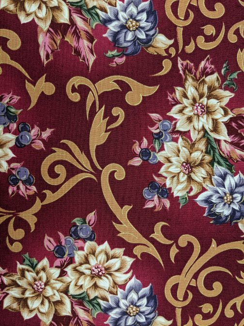 Traditional Christmas Poinsettia Fabric in Wine by Beth Ann Bruske for David Textiles Out of Print Fabric Sold by the 1/2 Yard 1