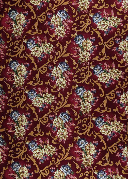 Traditional Christmas Poinsettia Fabric in Wine by Beth Ann Bruske for David Textiles Out of Print Fabric Sold by the 1/2 Yard 5