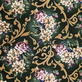 Traditional Christmas Poinsettia Fabric in Green by Beth Ann Bruske for David Textiles Out of Print Fabric Sold by the 1/2 Yard