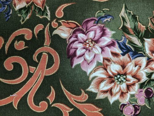 Traditional Christmas Poinsettia Fabric in Green by Beth Ann Bruske for David Textiles Out of Print Fabric Sold by the 1/2 Yard 7