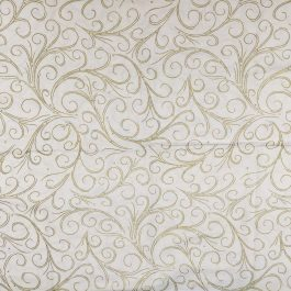 Traditional Christmas Scroll Fabric in Gold by  Beth Ann Bruske for David Textiles Out of Print Fabric Sold by the 1/2 Yard