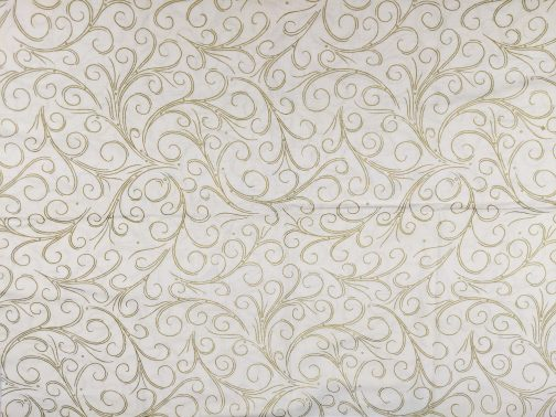 Traditional Christmas Scroll Fabric in Gold by  Beth Ann Bruske for David Textiles Out of Print Fabric Sold by the 1/2 Yard 4