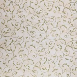 1936 Poinsettia by Jackie Robinson for Maywood Studio Cream with Green Scroll Metallic Details Out of Print Fabric Sold by the 1/2 Yard