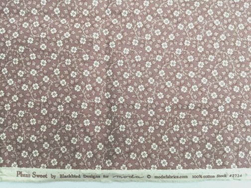 Plum Sweet by Blackbird Designs for Moda Out-of-Print fabric by Blackbird Designs Pinkish Brown background with small cream floral Sold by the 1/2 yard 100% Cotton